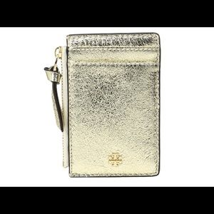 🆕 Tory Burch Gold Crinkle Metallic Zip Card Case